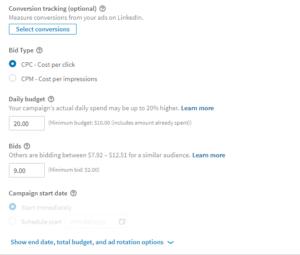 LinkedIn Bidding and Budget