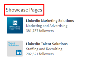 Showcase Pages LinkedIn