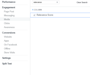 FB Relevance Score