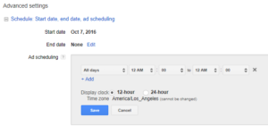 YouTube Advanced Setting Ad Scheduling