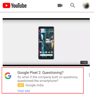 YouTube Video Discovery Ad